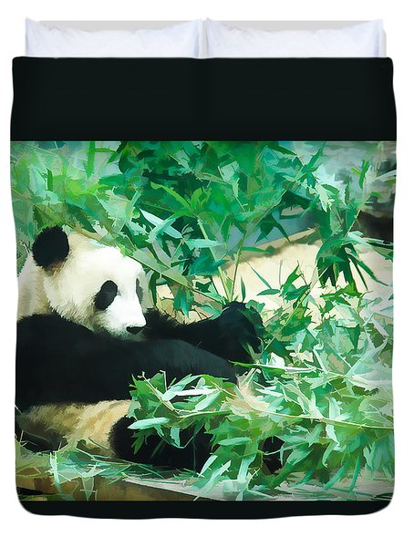 Duvet Cover featuring the painting Panda 1 by Lanjee Chee