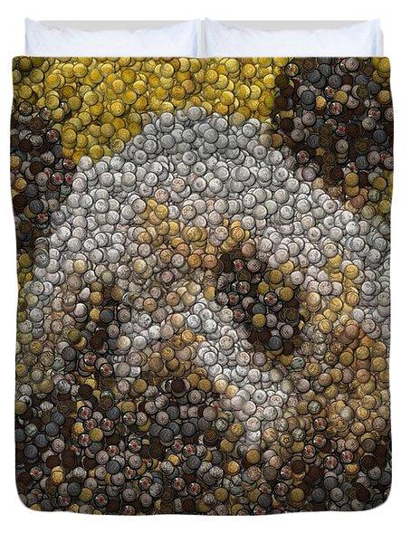 Duvet Cover featuring the digital art Panda Coin Mosaic by Paul Van Scott