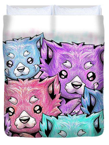 Curious Pandas Duvet Cover