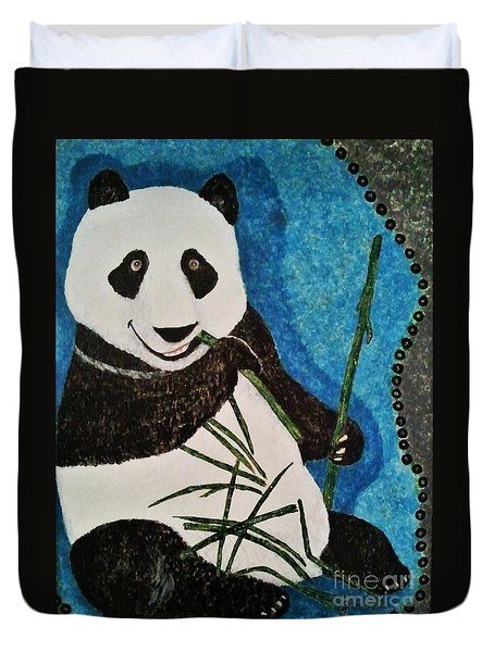 Duvet Cover featuring the painting Panda by Jasna Gopic