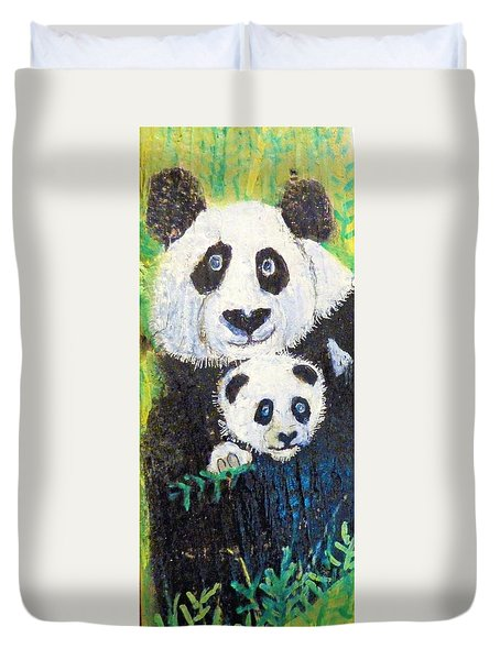 Panda Mother And Cub Duvet Cover