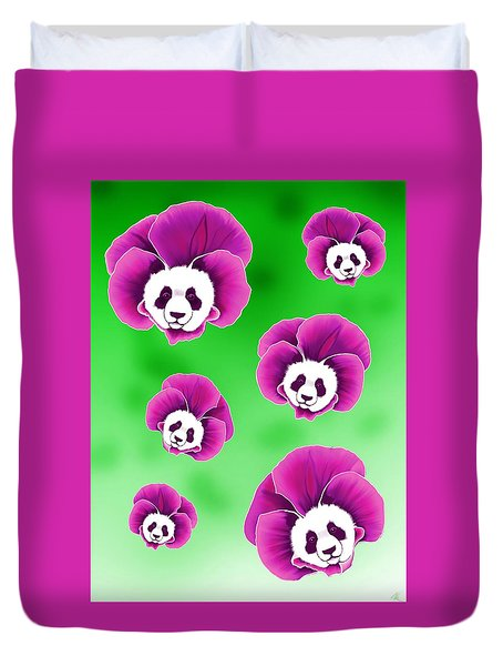 Panda Pansies Duvet Cover