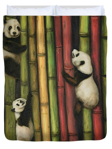 Duvet Cover featuring the painting Pandas Climbing Bamboo by Leah Saulnier The Painting Maniac