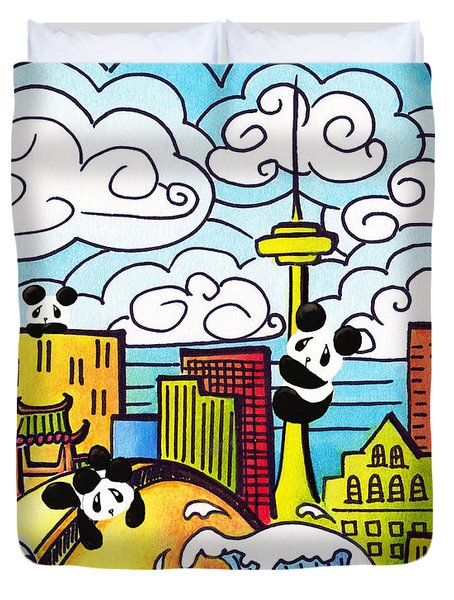 Pandas In Toronto Duvet Cover