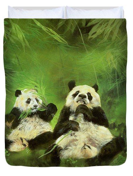Pandas  Duvet Cover by Odile Kidd