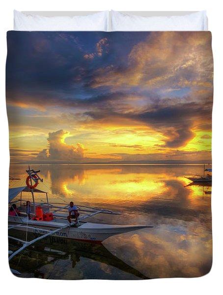 Duvet Cover featuring the photograph Panglao Port Sunset 10.0 by Yhun Suarez
