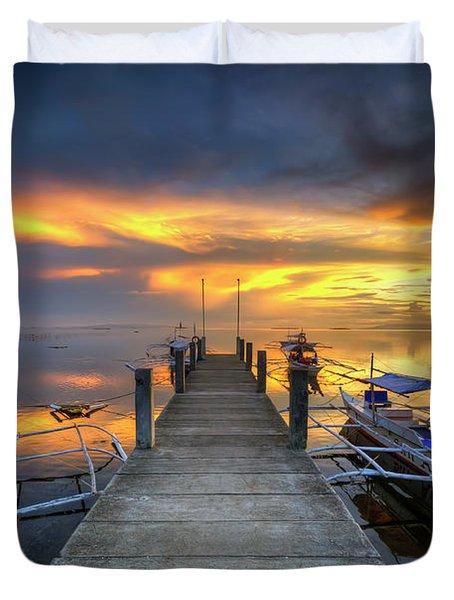 Duvet Cover featuring the photograph Panglao Port Sunset 8.0 by Yhun Suarez