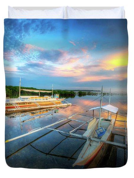 Duvet Cover featuring the photograph Panglao Port Sunset 9.0 by Yhun Suarez