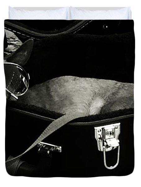 Panhandling Dog Duvet Cover by Julie Niemela