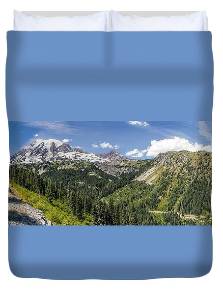 Duvet Cover featuring the photograph Panorama #2 Of Mt Rainier by Rob Green