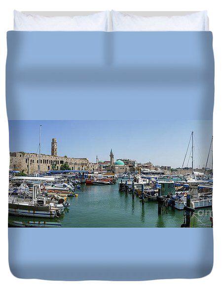 Panorama In Acre Harbor Duvet Cover