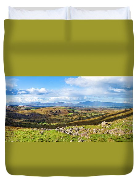 Duvet Cover featuring the photograph Panorama Of A Colourful Undulating Irish Landscape In Kerry by Semmick Photo