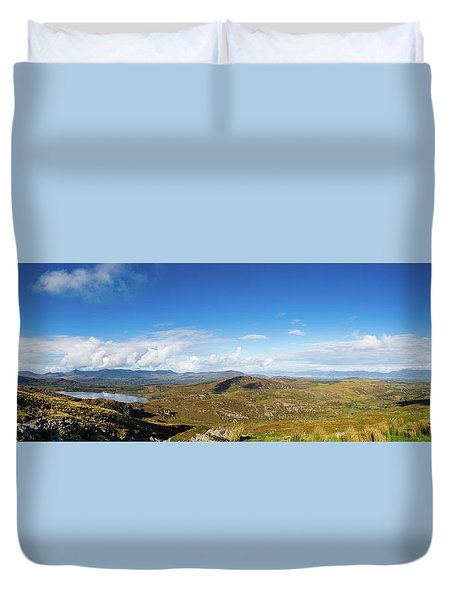 Duvet Cover featuring the photograph Panorama Of Ballycullane And Lough Acoose In Ireland by Semmick Photo