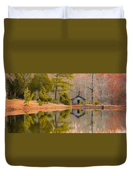 Panorama Of Cabin By The Lake Duvet Cover by Shelby  Young