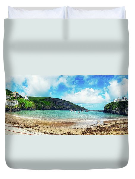 Duvet Cover featuring the photograph panorama of harbor  Port Isaac, Cornwall by Ariadna De Raadt