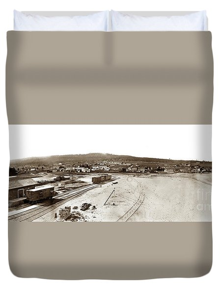 Watkins Panorama Of Monterey, California 1882 Duvet Cover by California Views Mr Pat Hathaway Archives