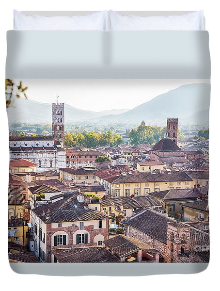 Duvet Cover featuring the photograph panorama of old town Lucca, Italy by Ariadna De Raadt