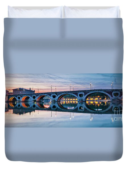 Duvet Cover featuring the photograph Panorama Of Pont Neuf In Toulouse by Elena Elisseeva