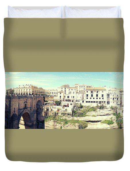 Duvet Cover featuring the photograph panorama of  Rondo in Spain by Ariadna De Raadt