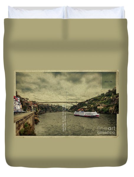 Duvet Cover featuring the digital art panorama of the Douro river, Dom Luiz Bridge of  Porto, Portugal by Ariadna De Raadt