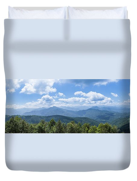 Duvet Cover featuring the photograph Panorama Of The Foothills Of The Pyrenees In Biert by Semmick Photo