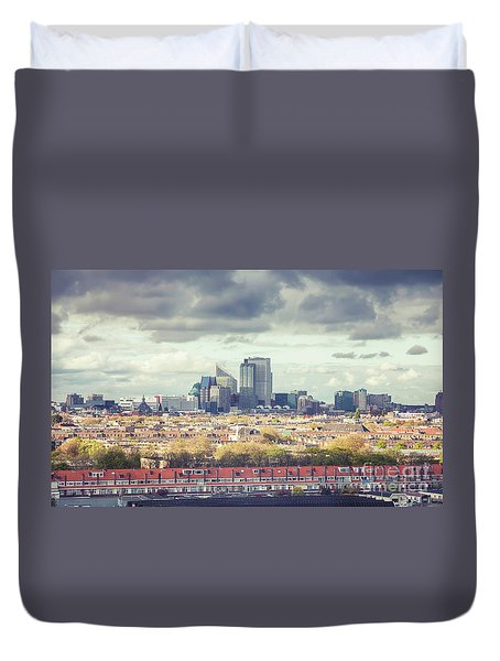 Duvet Cover featuring the photograph panorama of the Hague modern city by Ariadna De Raadt