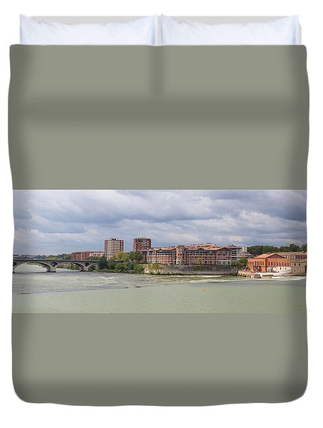 Duvet Cover featuring the photograph Panorama Of The Hydroelectric Power Station In Toulouse by Semmick Photo