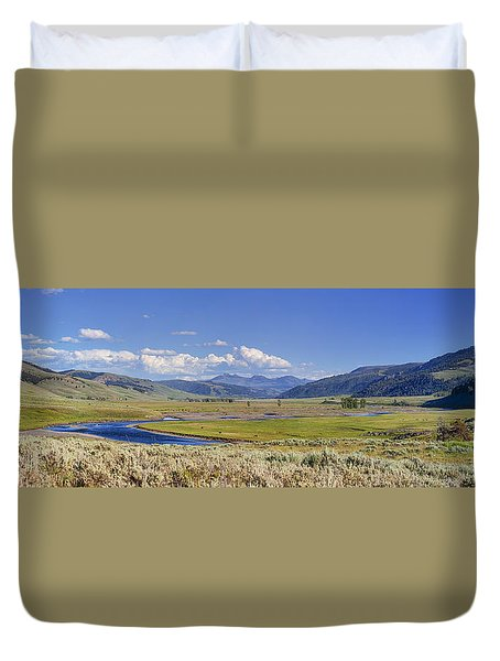 Panorama Of The Lamar Valley Duvet Cover
