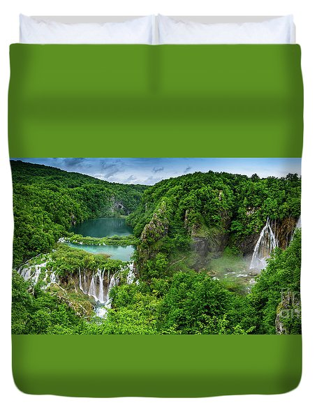 Panorama Of Turquoise Lakes And Waterfalls - A Dramatic View, Plitivice Lakes National Park Croatia Duvet Cover