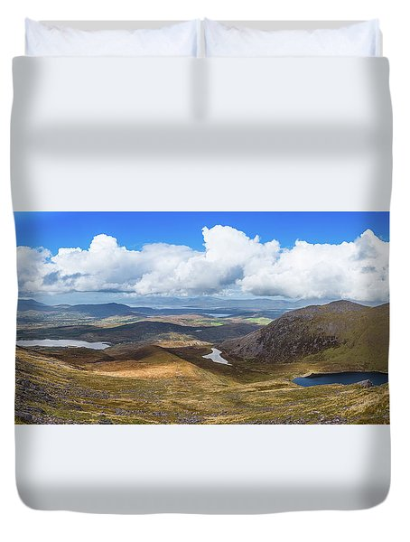 Duvet Cover featuring the photograph Panorama Of Valleys And Mountains In County Kerry On A Summer Da by Semmick Photo