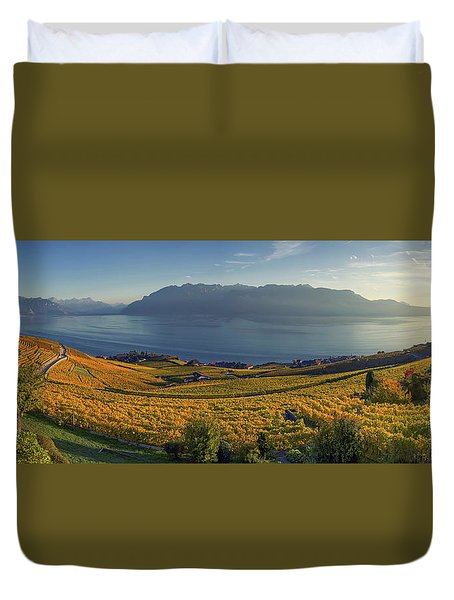 Panorama On Lavaux Region, Vaud, Switzerland Duvet Cover