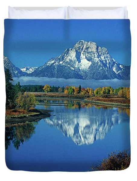 Panorama Oxbow Bend Grand Tetons National Park Wyoming Duvet Cover