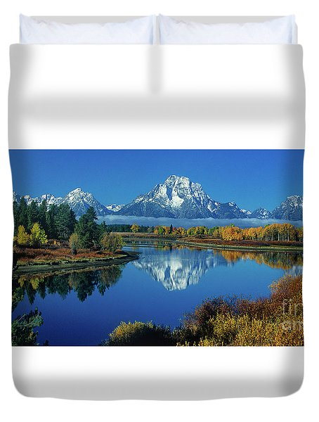 Duvet Cover featuring the photograph Panorama Oxbow Bend Grand Tetons National Park Wyoming by Dave Welling