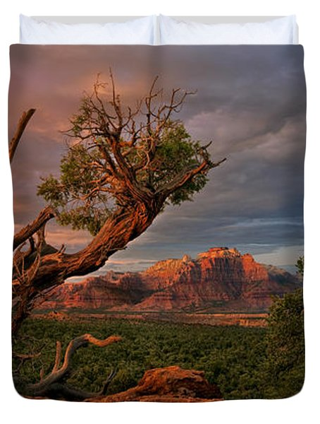Duvet Cover featuring the photograph Panorama Storm Back Of Zion Near Hurricane Utah by Dave Welling