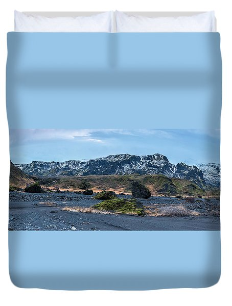 Panorama View Of An Icelandic Mountain Range Duvet Cover by Joe Belanger