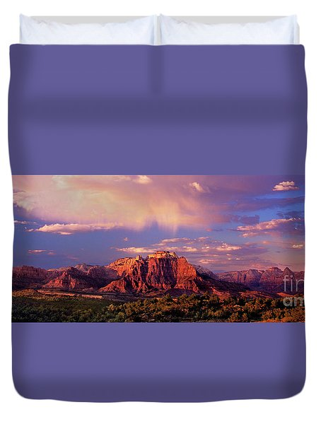 Duvet Cover featuring the photograph Panorama West Temple At Sunset Zion Natonal Park by Dave Welling