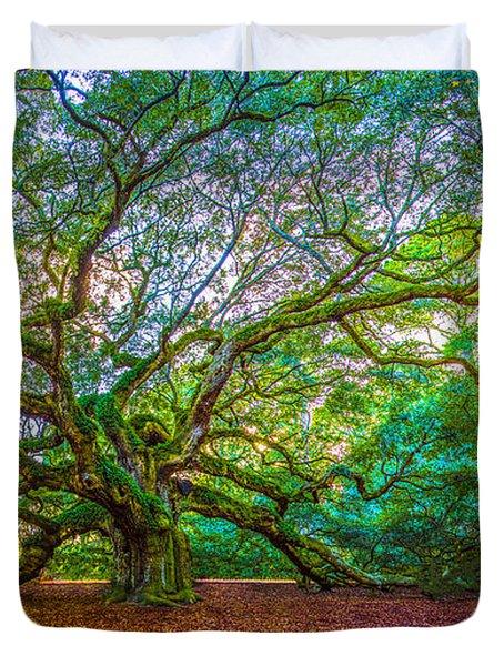 Panoramic Angel Oak Tree Charleston Sc Duvet Cover