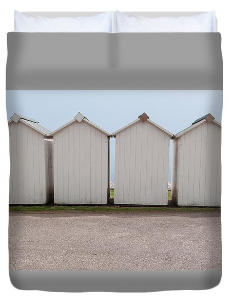 Panoramic Beach Huts Duvet Cover by Helen Northcott