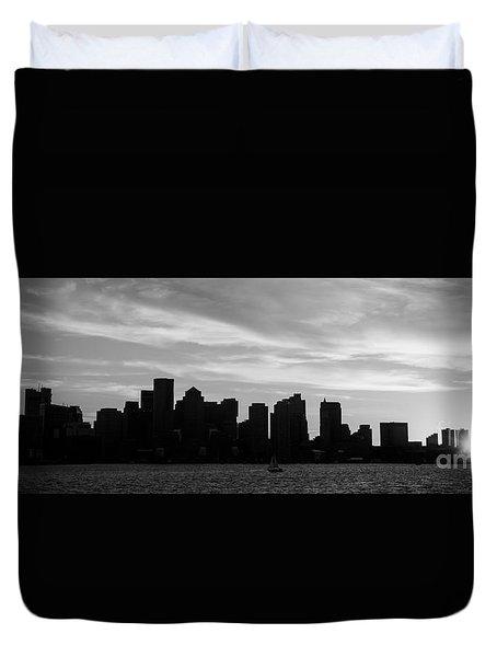 Panoramic Boston Skyline Black And White Photo Duvet Cover