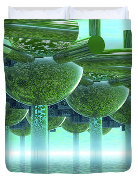 Panoramic Green City And Alien Or Future Human Duvet Cover by Nicholas Burningham