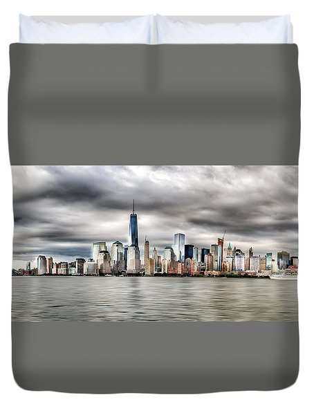 Panoramic New York City Duvet Cover by Rafael Quirindongo