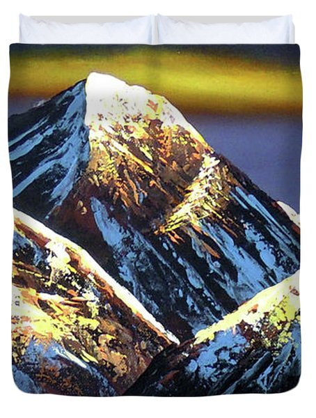 Panoramic Night View Of Everest Mountain Duvet Cover