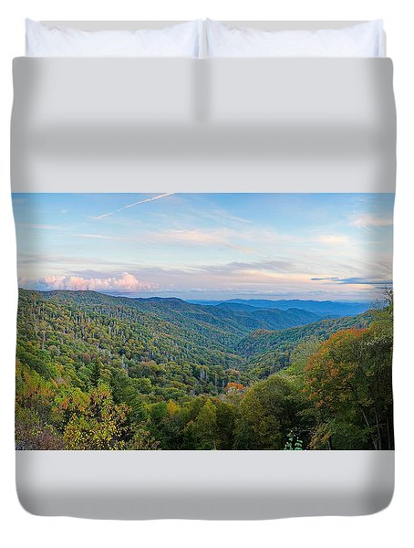 Panoramic October Views Of Smokey Mountain National Park Duvet Cover