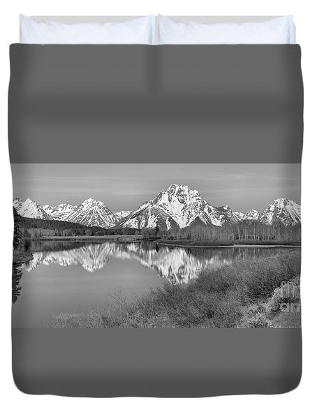 Panoramic Reflections At Oxbow Black And White Duvet Cover by Adam Jewell