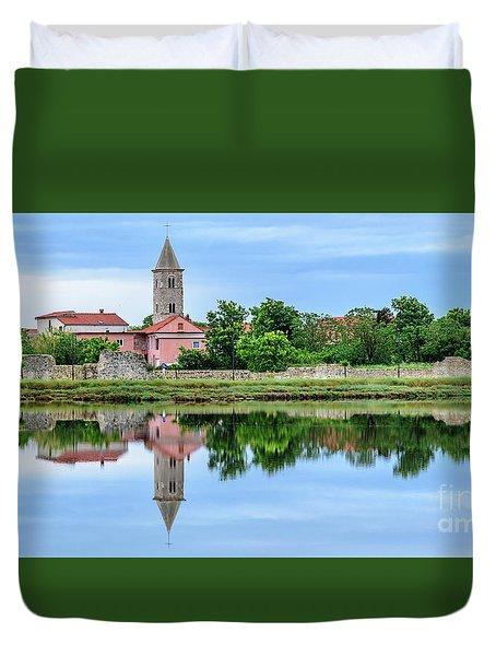 Panoramic Reflections Of Nin, Croatia Duvet Cover
