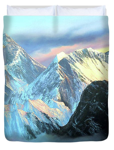 Panoramic Sunrise View Of Everest Mountain Duvet Cover