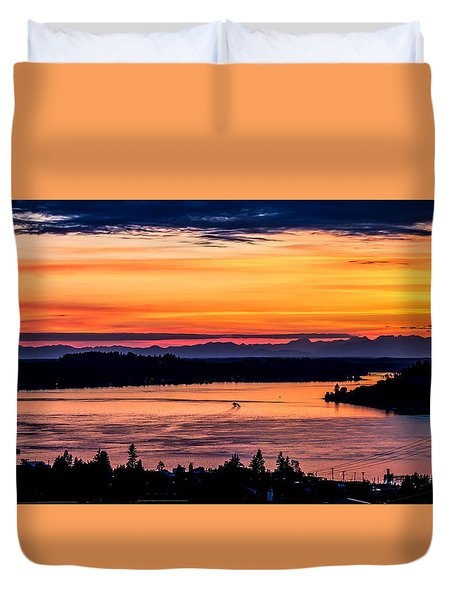Panoramic Sunset Over Hail Passage E Series On The Puget Sound Duvet Cover by Rob Green