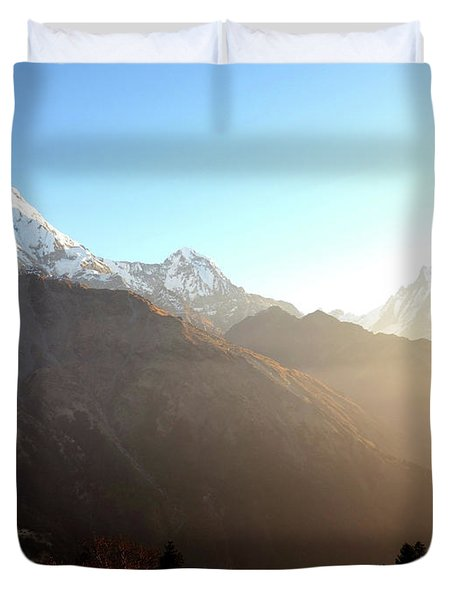 Panoramic Sunset View Of Everest Mountain Duvet Cover
