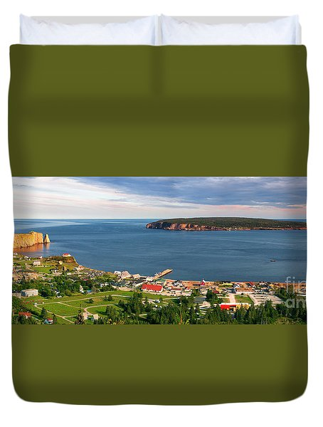 Duvet Cover featuring the photograph Panoramic View In Perce Quebec by Elena Elisseeva