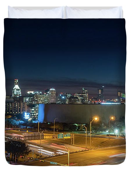 Panoramic View Of Busy Austin Texas Downtown Duvet Cover